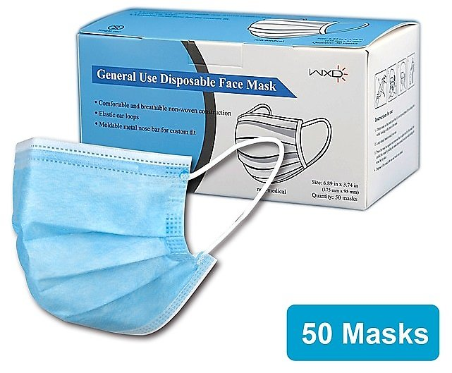 Disposable Earloop Face Mask, Blue, 50/Box (WXDKZ0007E)