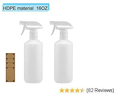 Spray Bottle / 16oz Spray Bottles for Cleaning Solutions Adjustable Nozzle Essential Item for Sanitizing/Grooming/Plant/car Detailing/Janitorial.(HDPE Material)2pack