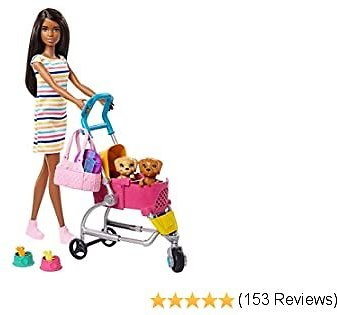 Barbie Stroll 'n Play Pups Playset with Brunette Doll (11.5-inch), 2 Puppies, Pet Stroller and Accessories, Gift for 3 to 7 Year Olds (GHV93)