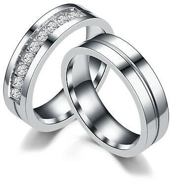 Men/Women Silver Plated Couple Rings Lovers CZ Titanium Steel Wedding Band 5-14