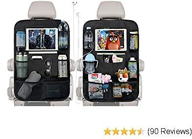 """PaiTree Upgrade Backseat Car Organizer for Kids with Charge Earphone Hole, 2PCS Car Backseat Organizers Included 11.8"""" Touch Screen Tablet Holder and 9 Storage Pockets, Kick Mats Car Seat Organizer"""