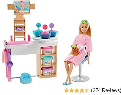 Barbie Face Mask Spa Day Playset with Blonde Barbie Doll, Puppy, 3 Tubs of Barbie Dough and 10+ Accessories to Create and Remove Face Blemishes On Doll, Gift for Kids 3 to 7 Years Old