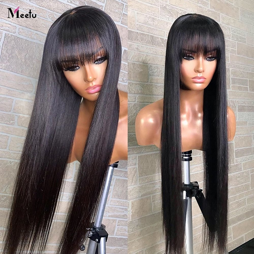 Straight Human Hair Wigs With Bangs 30 32inch Fringe Wig Colored Human Hair Wigs Ginger Burgundy Cheap Brazilian Remy Wig