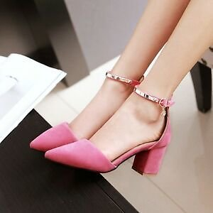 Women Block Heels Pumps Pointy Toe Ankle Strap High Heels Party Sandals Shoes Sz