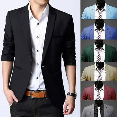 Mens Formal Business Suit Blazer Coat One Button Slim Fit Jacket Outwear Tops US
