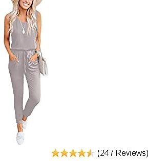 Caracilia Women's Tank Jumpsuit Casual Sleeveless Jumpsuit Beam Foot Elasitic Waist Rompers Jumpsuits with Pockets
