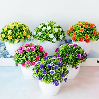 Artificial Flower With Pot Fake False Plants Flowers Garden Home Decoration SR