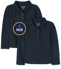 Baby And Toddler Girls Uniform Long Sleeve Ruffle Pique Polo 2-Pack