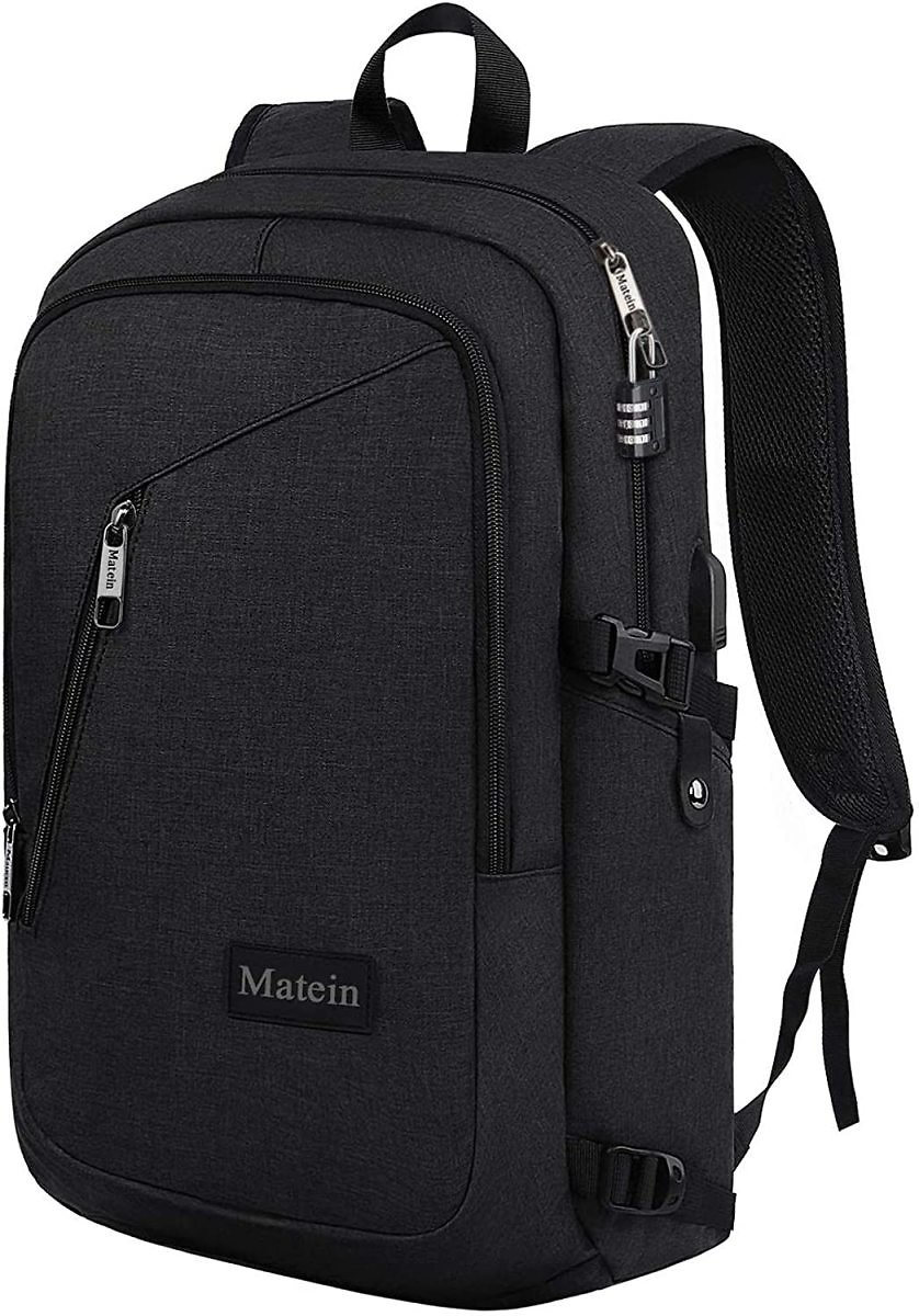Matein Slim Laptop Backpack, Anti-Theft Travel Backpack Fits 15 Inch Laptop, Water Resistant Business Backpack with USB Charging Port for Men, College School Bookbag for Student for Boys and Girls