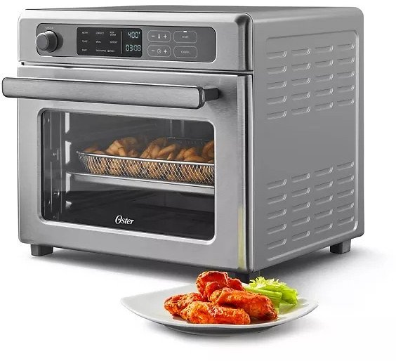 Oster Digital 9-Function Countertop Air Fryer Oven with RapidCrisp – Stainless Steel