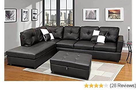 FlashBuy Sectional Sofa, L-Shape Faux Leather Sectional Sofa Couch Set with Chaise, Ottoman, 2 Toss Pillow Using for Living Room Furniture.(Black)
