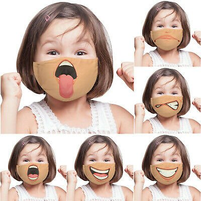 Children Kids 3D-Funny Printed Face Mask Protective Covering Washable Reusable