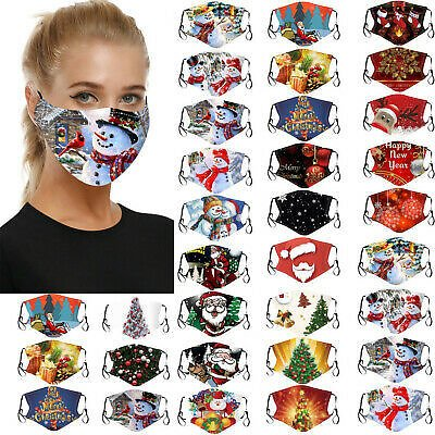 5/10 PC Christmas Print Face Mask Protective Cover Mouth Masks Washable Reusable