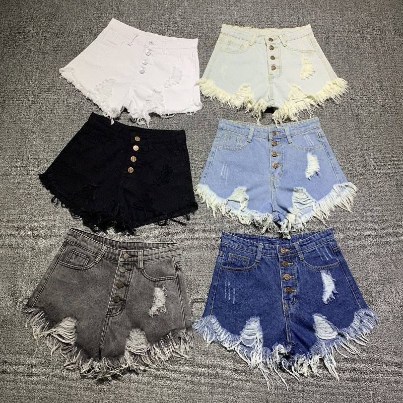 US $4.4 50% OFF|female Fashion Casual Summer Cool Women Denim Booty Shorts High Waists Fur Lined Leg Openings Plus Size Sexy Short Jeans|Shorts| - AliExpress