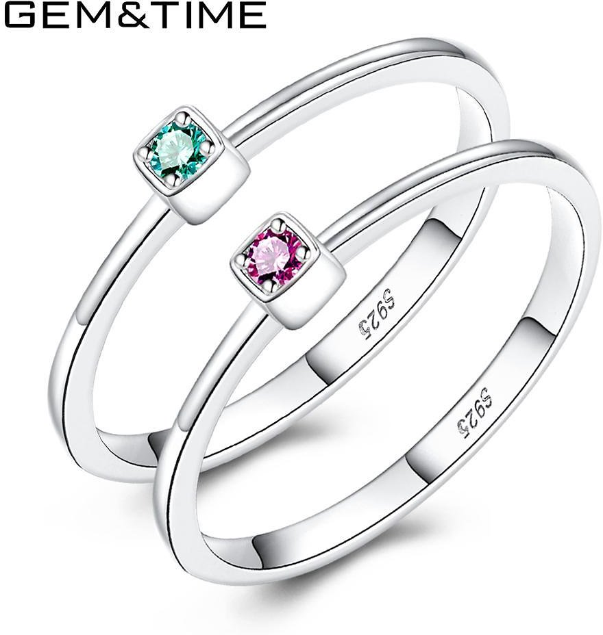 US $6.69 |Gem&Time Real 925 Sterling Silver Ring Gree Red Topaz Rings For Women Gemstone Engagement Rings Silver 925 Jewelry Anillos Mujer|Rings| - AliExpress