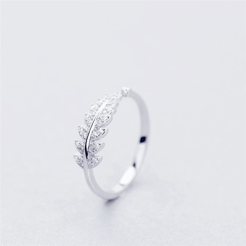 US $4.72 |925 Sterling Silver Fresh Sweet Branch Leaf Temperament Personality Fashion Female Trendy Resizable Opening Rings SRI025|Rings| - AliExpress