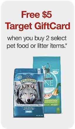 Target - Buy 2, Get $5 Gift Card On Select Pet Food and Litter Items