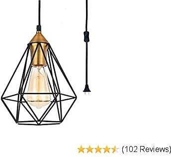 SEEBLEN Plug in Pendant Light Coffee Brown Finish Hanging Light with 15 Ft Plug in Cord On/Off Switch Vintage Edison Industral Light Metal Cage Pendant Light Fixture
