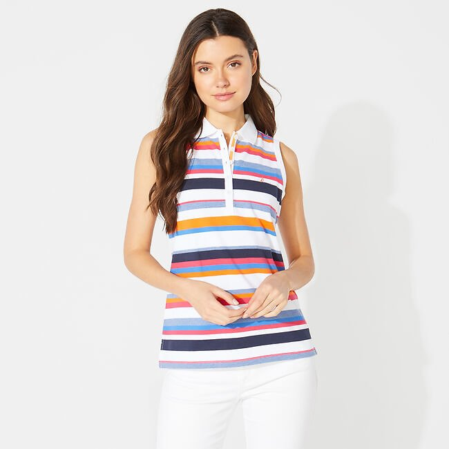 CLASSIC FIT STRIPED SLEEVELESS POLO