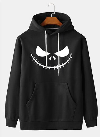 60%OFF Mens Halloween Print Long Sleeve Casual Hoodies