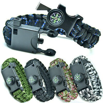 8IN1 Emergency Paracord Bracelet Compass Knife & Whistle& More Survival-Kit