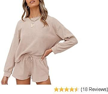 ZESICA Women's Striped Long Sleeve Top and Shorts Pullover Nightwear Lounge Pajama Set with Pockets