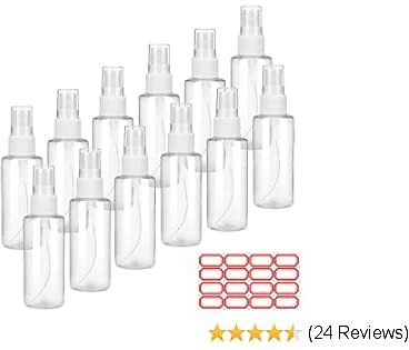 Spray Bottles 2 Oz, AILFU 12 PCS Clear PET Plastic Spray Bottle Refillable Fine Mist Sprayer Bottles Makeup Cosmetic Atomizers Empty Small Spray Bottle Containers for Essential Oils, Travel