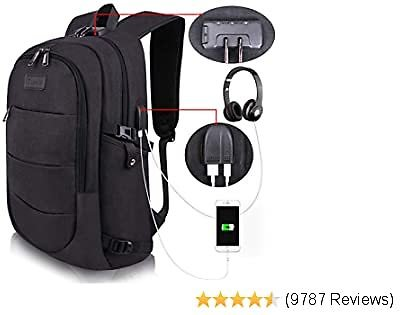 Travel Laptop Backpack Water Resistant with USB Charging Port and Computer ,Bookbag Casual Hiking Daypack