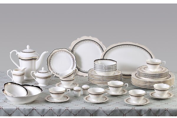 Dalilah 57 Piece Bone China Dinnerware Set, Service for 8