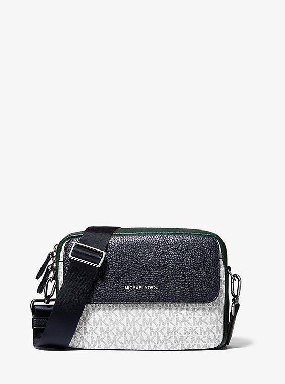 Hudson Color-Block Logo and Pebbled Leather Crossbody Bag