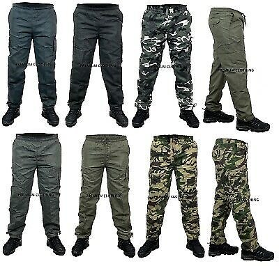 Mens Thermal Fleece Lined Elasticated TROUSERS Cargo Combat Work Pants Bottoms /