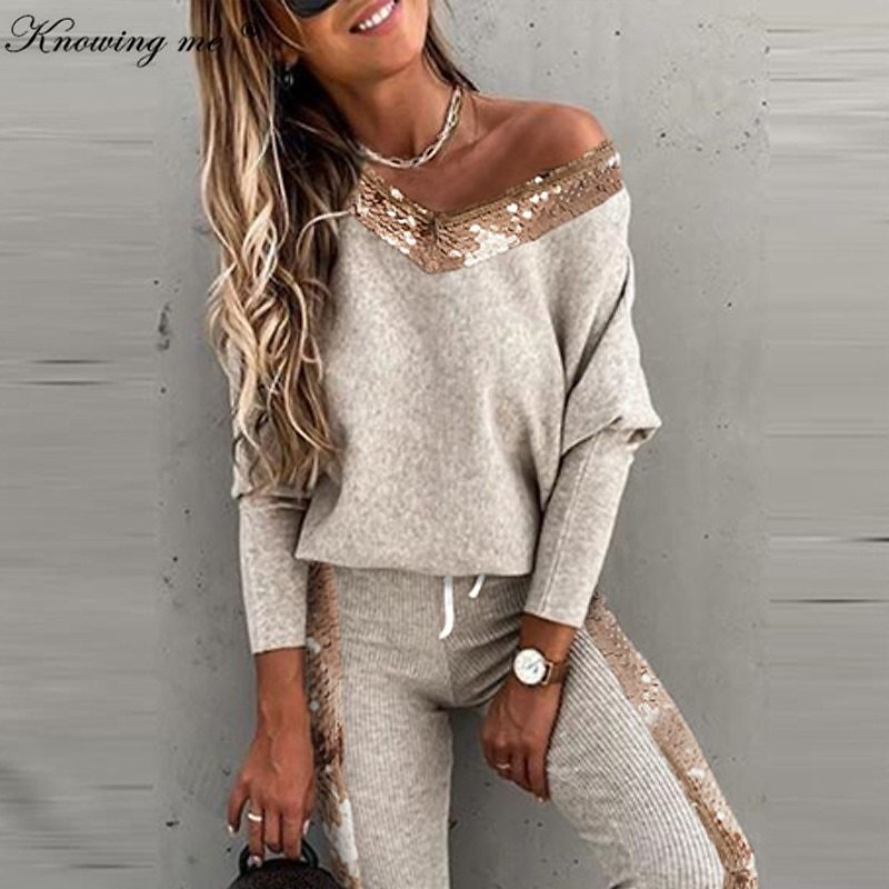Winter Women Knit Tracksuit Female Sexy Off Shoulder Long Sleeve Tops&long Pant 2 Piece Set Elegant Autumn Casual Elegant Outfit