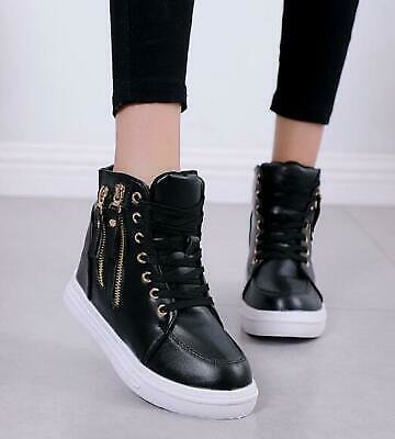 Top Women Hidden Wedge Lace Up Heels High Sneakers Casual Ankle Boots Shoes