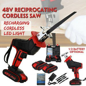 48v Cordless Reciprocating Saw Chainsaw+ Li-ion Battery+4 Saw Blades For Cutting