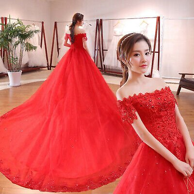 Traditional Beaded Lace Flower Red Ball Gown Wedding Dress with Long Train