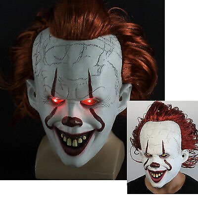 It Chapter Two Scary Clown Pennywise LED Lights Mask Cosplay Halloween Masks