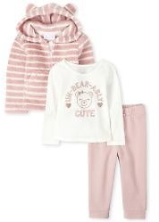 Toddler Girls Long Sleeve Striped Bear Sherpa Zip Up Hoodie Long Sleeve 'Un-Bear-Ably Cute' Top And French Terry Jogger Pants Outfit Set