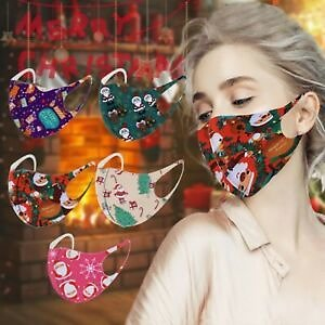 5PC Face Mask Christmas Print Protective Covering Mouth Masks Washable Reusable