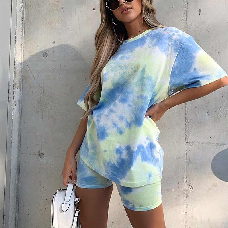 2020 Tie Dye Print Basic Oversized Tshirt Shorts Two Piece Set Women Casual Outfits Lounge Wear Jogger Femme Summer Streetwear