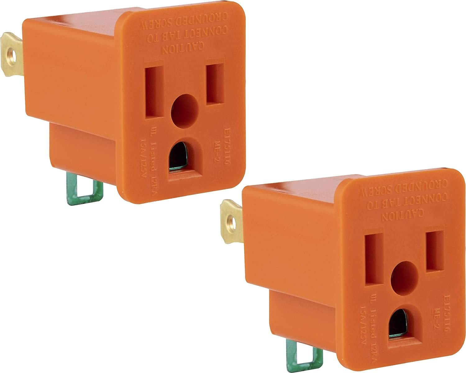 2-Pack GE Polarized Grounding Outlet Adapter