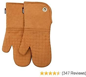 Silicone Groment Oven Mitts with Heat Resistant Non-Slip Set of 2, Cotton Quilting Lining, Oven Gloves and Pot Holders Kitchen Set for BBQ Cooking Baking, Grilling, Barbecue, Machine Washable Orange
