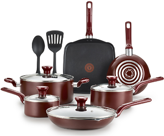 T-fal Easy Care 12-Piece Nonstick Cookware Set, Thermospot, Red, B089SC64