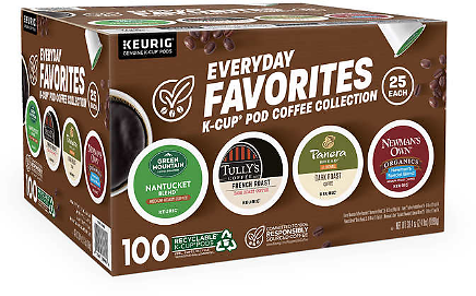 Keurig Everyday Favorites Coffee Collection K-Cup Pods, Variety Pack, 100-count