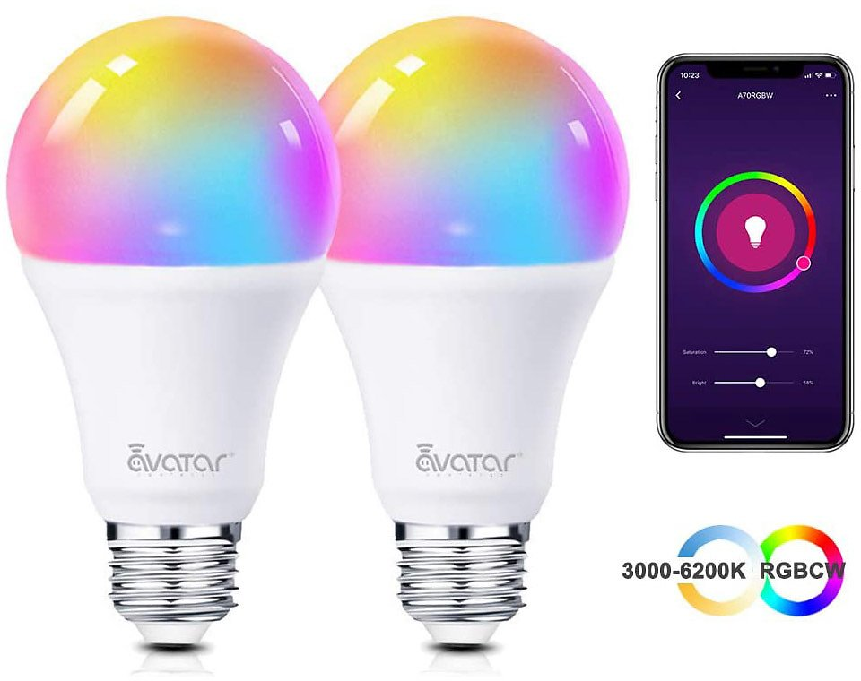Smart Light Bulb, 2-Pack Avatar Controls Smart LED Light Bulbs WiFi Dimmable, RGBCW Color Changing Lights, No Hub Required (800L