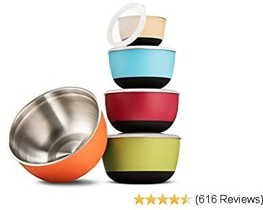 Premium Multicolor Stainless Steel Mixing Bowls with Airtight Lids (Set of 5) Nesting Bowls for Space Saving Storage, Non-Slip Bottoms for Stability, Mixing Bowl Set For Cooking, Baking & Food Storage