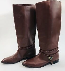 Vintage Women's SCRUPLES Brown Leather Tall Pull On Riding Boots Sz 8 EUC