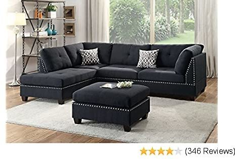 Poundex Branded Bobkona Viola Linen-Like Polyfabric Left or Right Hand Chaise Sectional Set with Ottoman (Pack of 3), Black