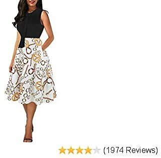 Oxiuly Branded Women's Vintage Bow Tie V-Neck Pockets Casual Work Party Cocktail Swing A-line Dresses OX278