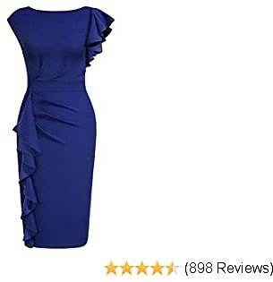 AISIZE Women Pinup Vintage Ruffle Sleeves Cocktail Party Pencil Dress