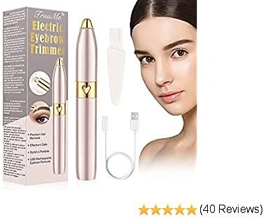 Eyebrow Trimmer for Women, Eyebrow Hair Remover, Electric Eyebrow Trimmer Epilator for Women, Upgraded Painless Facial Hair Removal Razor, USB Rechargeable, Cleaning Brush Included (Rose Gold)